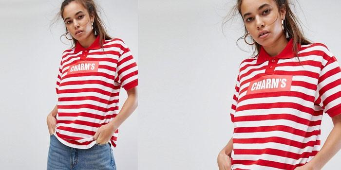 Девушка в полосатой футболке-поло Charms (ASOS)