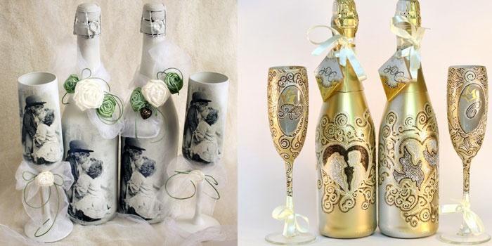 Идеи свадебного декупажа бутылок шампанского