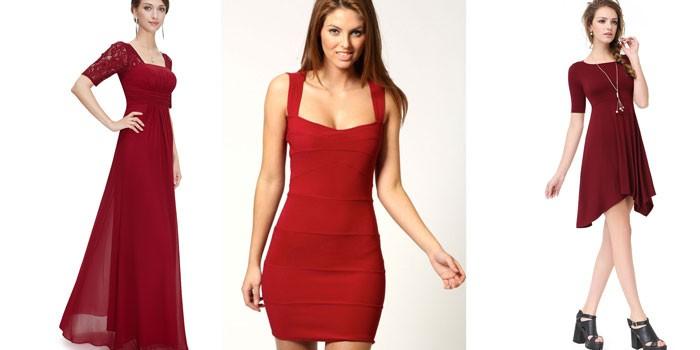 Девушки в платьях разных оттенков красного цвета