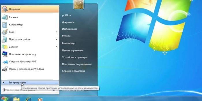 Меню Пуск операционной системы Windows 7