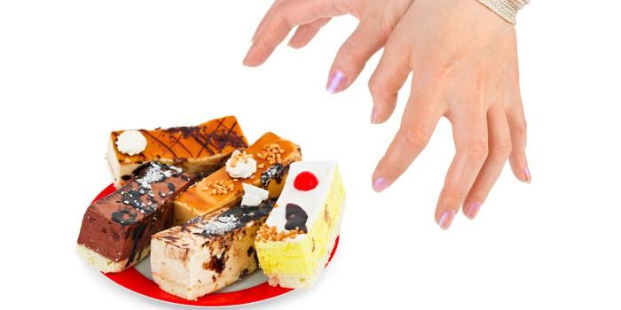 Пирожные на тарелке и руки в наручниках