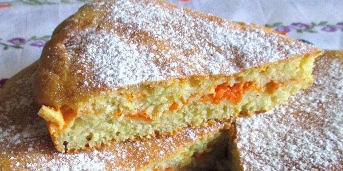 Заливной пирог с морковью