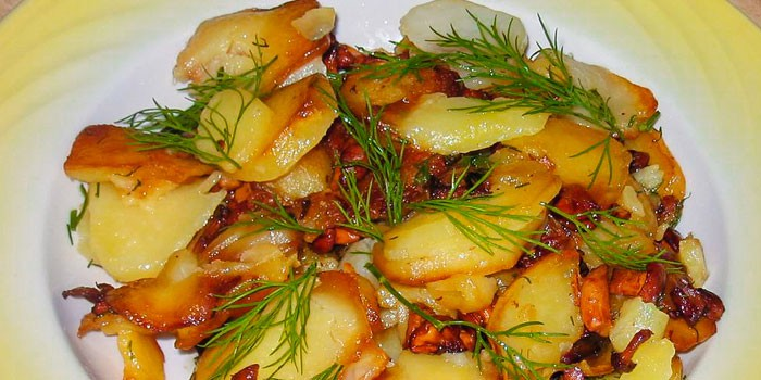 Жареный картофель с луком и лисичками