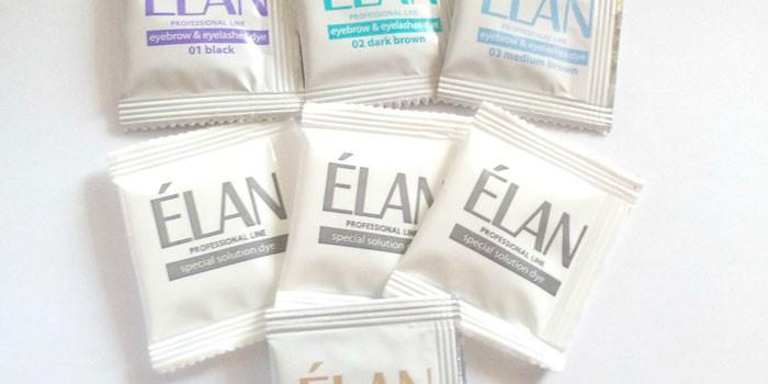 Разные оттенки краски для бровей Elan Professional line 02