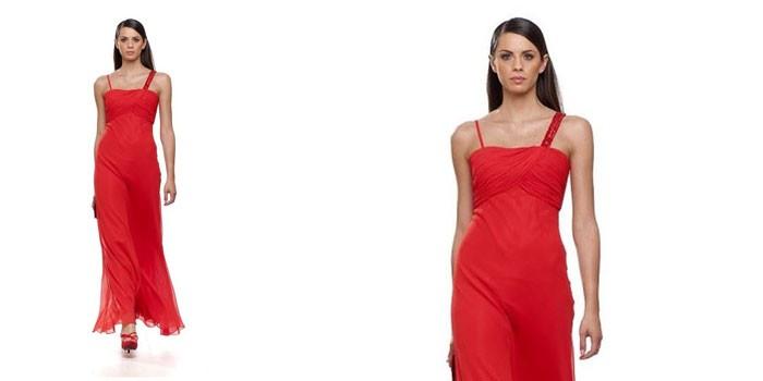 Девушка в красном вечернем платье Jean Cryo 32686