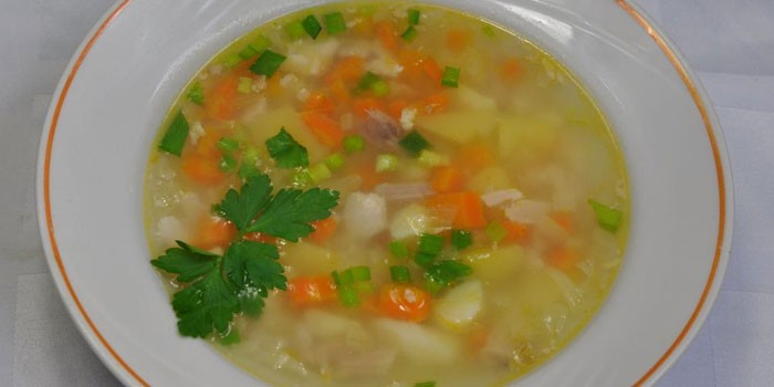 Диетический суп с рисом в тарелке