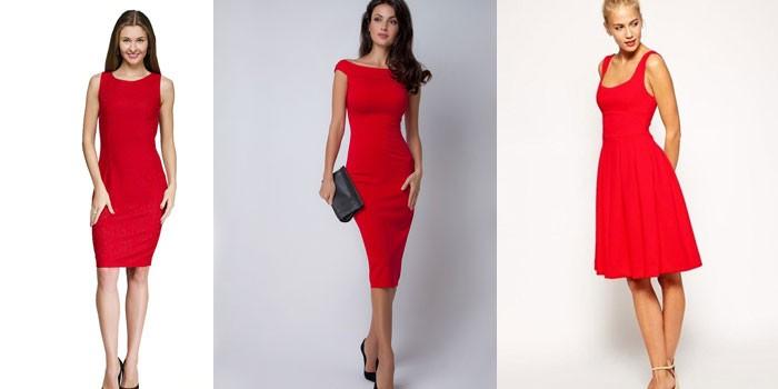 Девушки в красных платьях без рукавов