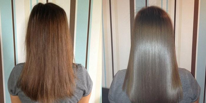 Волосы до и после термокератинового восстановления