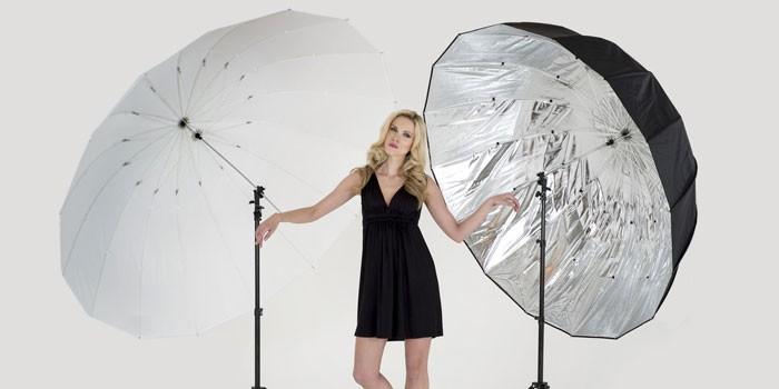Девушка с зонтиками для фотосъемок