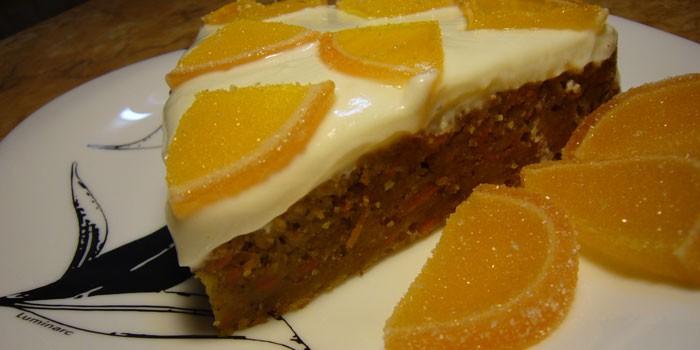 Морковно-лимонный пирог с мармеладом
