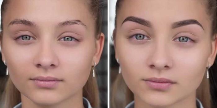 Брови девушки до и после процедуры
