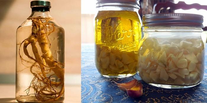 Настойки женьшеня и чеснока на спирту