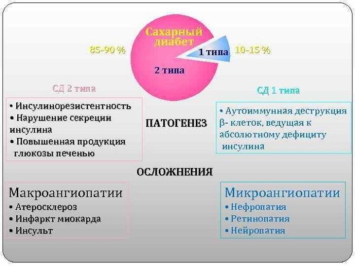 Патогенез и осложнения диабета 1 и 2 типов